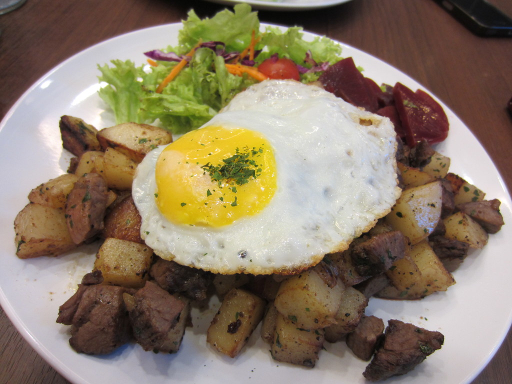 My order for the night! Amazing serving of meat, potatoes, veges &....... yes egg!!